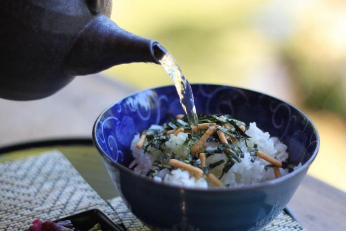 Eating Sencha Green Tea